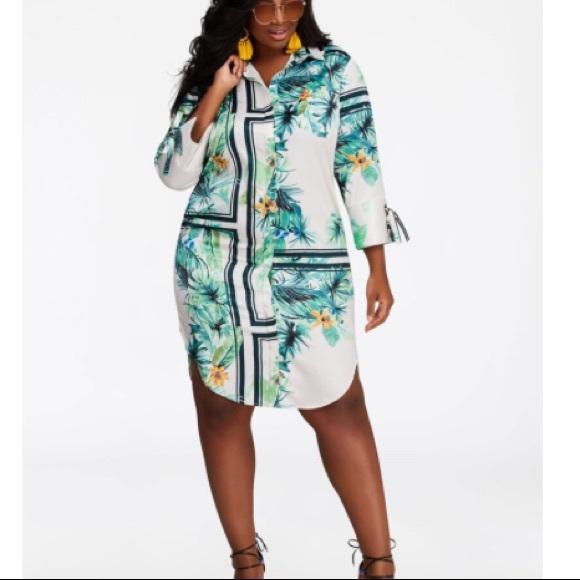 Ashley Stewart Dresses & Skirts - Ashley Stewart Tropical 🌴 Shirt Dress 20